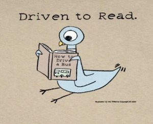 """After stating """"Driven to Read"""" the image shows a drawing of a bird reading a book about how to drive a bus"""